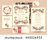 set of flower save the date card | Shutterstock .eps vector #445026955