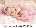 newborn sleeping baby girl... | Shutterstock . vector #445029514