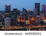 a night view of the pittsburgh... | Shutterstock . vector #445030351