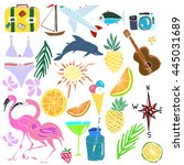 hand drawn vector summer clip... | Shutterstock .eps vector #445031689