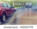 motion car rain big puddle of... | Shutterstock . vector #445032799