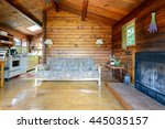 Cozy Interior Of A Rustic Log...