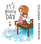 girl and cute animals. it's a...   Shutterstock .eps vector #445037221