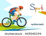 disabled athlete cycling track... | Shutterstock .eps vector #445040194