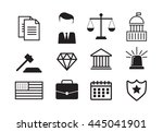 set of black and white law and... | Shutterstock .eps vector #445041901