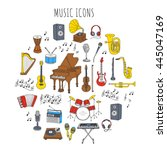 music icon set vector... | Shutterstock .eps vector #445047169