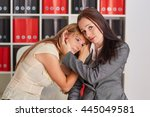 young business woman soothing... | Shutterstock . vector #445049581