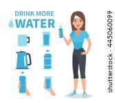 vector water infographic... | Shutterstock .eps vector #445060099