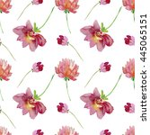 watercolor flowers. seamless... | Shutterstock . vector #445065151