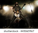 rock band performs on stage.... | Shutterstock . vector #445065967