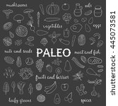 hand drawn outline paleo diet... | Shutterstock .eps vector #445073581