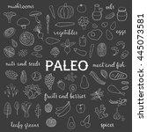 hand drawn outline paleo diet... | Shutterstock .eps vector #445073581