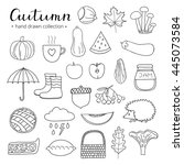 hand drawn outline autumn items ... | Shutterstock .eps vector #445073584