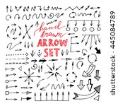 hand drawn black arrows set on... | Shutterstock .eps vector #445084789