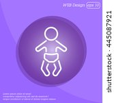 web line icon. baby in a diaper | Shutterstock .eps vector #445087921