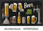 two hands holding beer glasses... | Shutterstock .eps vector #445092061