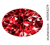 ruby oval over white background.... | Shutterstock . vector #445093279