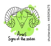 signs of the zodiac. horoscope... | Shutterstock .eps vector #445093675