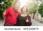 happy senior asian couple with... | Shutterstock . vector #445100875