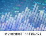 abstract chart and numbers at...   Shutterstock . vector #445101421