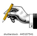 hand with a pencil. vintage... | Shutterstock .eps vector #445107541