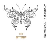 outline vector butterfly.... | Shutterstock .eps vector #445108669