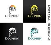 dolphin logo design template ... | Shutterstock .eps vector #445112605