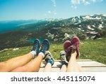 legs of traveler family sitting ... | Shutterstock . vector #445115074