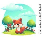 fox in the grass   a children's ... | Shutterstock .eps vector #445116949