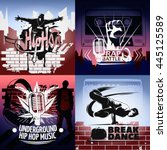 four hip hop icon set with... | Shutterstock .eps vector #445125589