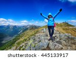 young woman in mountains ... | Shutterstock . vector #445133917