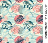 trendy seamless exotic pattern... | Shutterstock .eps vector #445137049