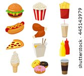 set of colorful cartoon fast...   Shutterstock .eps vector #445143979
