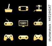 video game icons gold icon set. ... | Shutterstock . vector #445144147