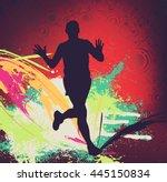 people running. vintage sport... | Shutterstock . vector #445150834