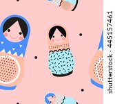 matryoshka dolls vector... | Shutterstock .eps vector #445157461