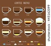 flat style coffee menu on brown ... | Shutterstock .eps vector #445162099