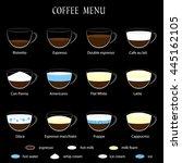 coffee menu on black background.... | Shutterstock .eps vector #445162105