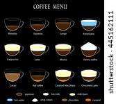 coffee menu on black background.... | Shutterstock .eps vector #445162111