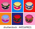 set burger illustration pop art ... | Shutterstock . vector #445169821