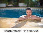 cute firl is relaxing at a... | Shutterstock . vector #445200955