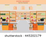 supermarket with fresh food on... | Shutterstock .eps vector #445202179