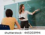 teacher or docent or educator... | Shutterstock . vector #445203994