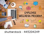 employee wellness program... | Shutterstock . vector #445204249