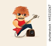 red haired guy playing on... | Shutterstock .eps vector #445210267