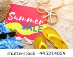 summer beach sandals words... | Shutterstock . vector #445214029