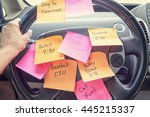 steering wheel covered in notes ... | Shutterstock . vector #445215337