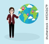 hipster businesswoman pointing... | Shutterstock .eps vector #445242679