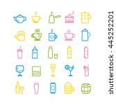collection of outline drinks... | Shutterstock .eps vector #445252201
