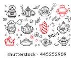 tea time. hand drawn doodle...   Shutterstock .eps vector #445252909